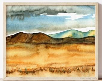 Wheat Field Watercolor Print by HippieHoppy