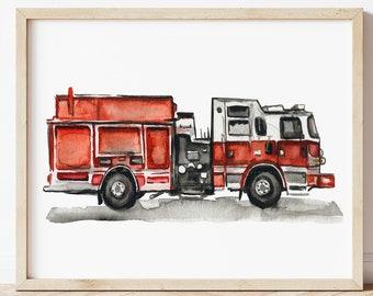 Fire Truck EMS Wall Art Print