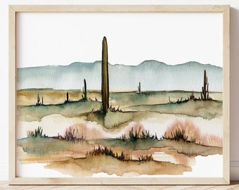 Arizona Desert Watercolor Print by HippieHoppy