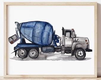Cement Truck Print, Concrete Mixer Truck, Construction Wall Art
