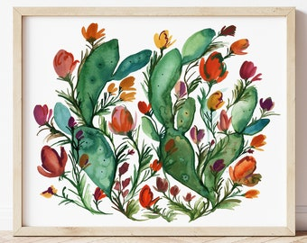 Large Cactus Watercolor Art Print by HippieHoppy