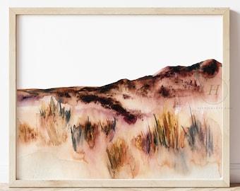 Landscape Art Print, Neutral Landscape, Abstract Watercolor Painting