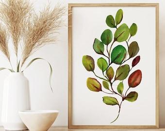 Large Eucalyptus Watercolor Wall Art Print