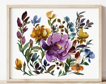 Large Brightly Colored Wild Flower Art Print. Living Room Décor. Girls Bedroom Art. Watercolor Floral Art. Gift For Mom. Spring Art