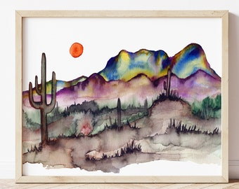 Large Desert Wall Décor, Wall Art, Desert Watercolor, Cactus Prints Wall Art, Southwestern Print, Arizona, Desert Landscape