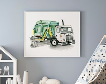 Large Garbage Truck Side Loader Watercolor Print