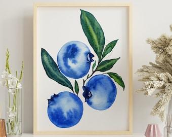 Blueberry Botanical Print - Art Print - Kitchen Art - Wall Art - Fruit Print
