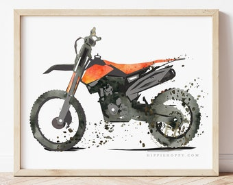 Dirt Bike Watercolor Print