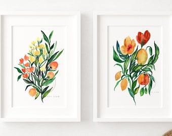 Flower Watercolor Prints Set of 2 by HippieHoppy