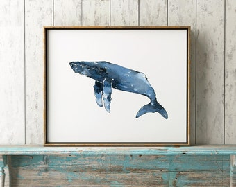 Humpback Whale 101 Blue Print Watercolor Whale Art Whales Decor Whales Coastal Art Beach House Humpback Whale Whale Wall Decor Whale Print
