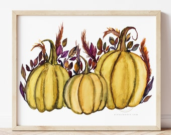 Pumpkin Watercolor Print