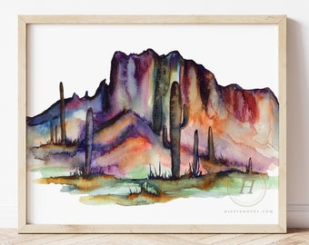 Large Arizona Desert Watercolor Print