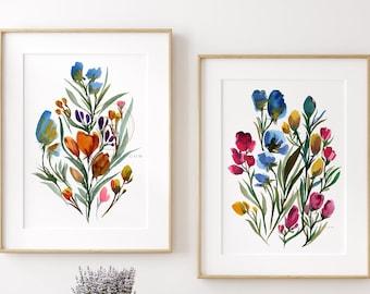Flower Print: Set of 2 Botanical Plant Art Illustrations