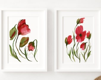 Poppy Watercolor Prints Set of 2 by HippieHoppy
