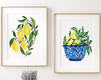 Lemon Print: Set of 2 Botanical Fruit Art Illustration