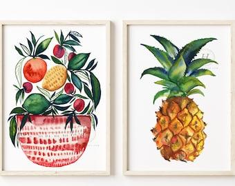 Fruit Watercolor Prints set of 2