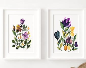 Flowers Watercolor Print Set of 2 by HippieHoppy