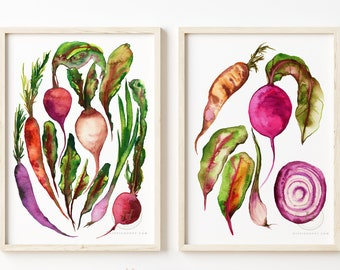Vegetables Watercolor Prints set of 2