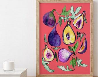 Fig Botanical Print - Art Print - Kitchen Art - Childrens Wall Art - Fruit Print