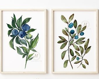 Blueberry Watercolor Prints set of 2