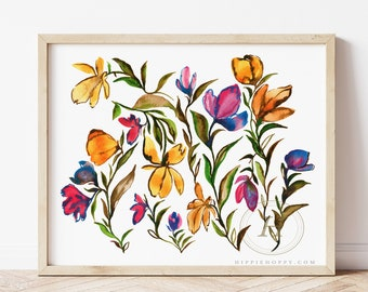Flowers Watercolor Art Print by HippieHoppy