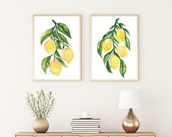 Lemon Art Prints, Lemon Wall Art , Watercolor Lemons Prints, Modern Kitchen Wall Art, Set of 2 prints, Yellow Decor, Fruit Wall Decor