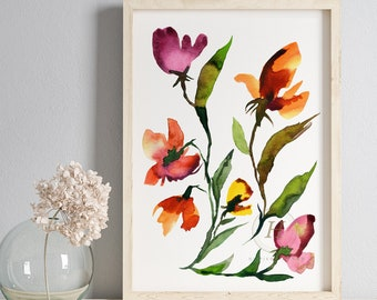 Flower Artwork Watercolor Painting Print
