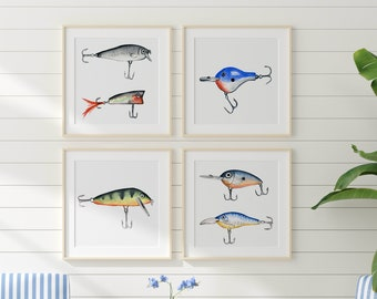 Fishing Lures Modern Art by HippieHoppy Set of 4