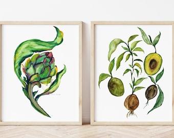 Artichoke and Avocado Print Set Botanical Print Botanical Wall Art Vintage Botanical Dining Room Art Print Kitchen Art Print