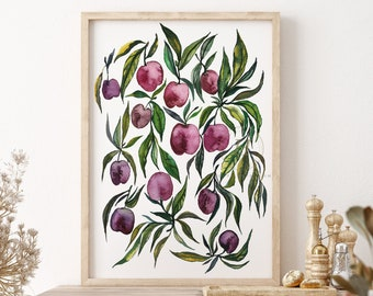 Large Cherry Watercolor Print Modern Art by HippieHoppy