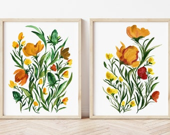 Flower Watercolor Print set of 2
