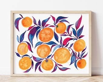 Colorful Oranges Watercolor Print Modern Art by HippieHoppy