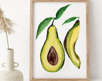 Avocado Artwork, Watercolor Print, Kitchen Wall Art