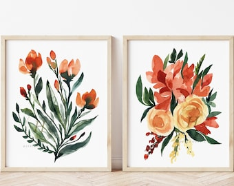 Large Flower Print: Set of 2 Botanical Plant Art Illustrations Fall
