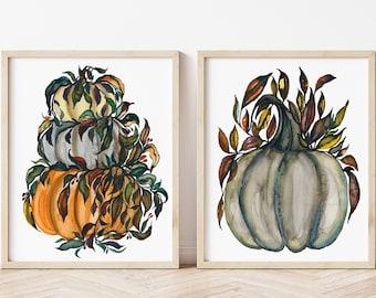 Halloween Pumpkin Wall Art, Watercolor Painting, Pumpkin Art Print, Fall Wall Art, Halloween Decor, Watercolor Pumpkins, Pumpkin Wall Decor