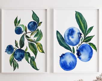 Blueberries, Watercolor Prints, Set of 2 by HippieHoppy