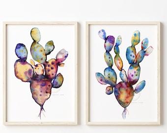 Large Cactus Set of 2 Watercolor Prints