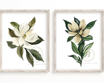 Magnolia Watercolor Print Set of 2 by HippieHoppy