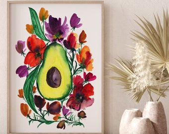 Avocado Art Print Kitchen Decor