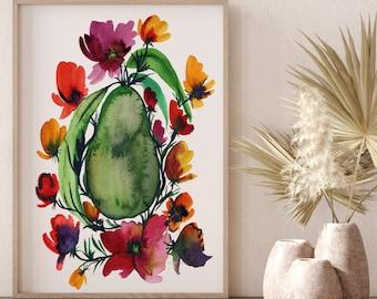 Watercolor Avocado Print, Avocado Wall Decor, Food Art, Food Illustration, Kitchen Wall Decor