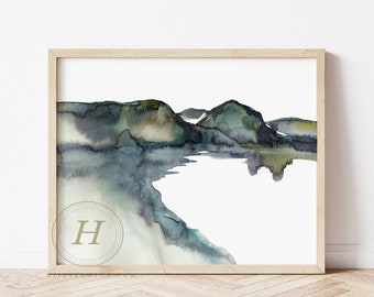 Abstract Beach Watercolor Print by HippieHoppy