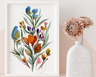 Large Flower Watercolor Print, Artwork
