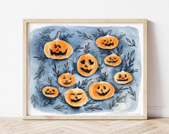 Pumpkin Watercolor Print, Halloween Wall Art by HippieHoppy