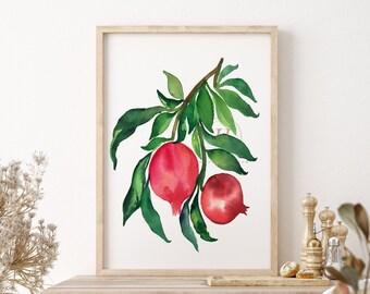 Large Pomegranate Watercolor Print