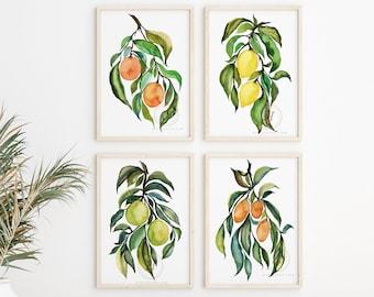 Watercolor Fruit Prints Set of 4