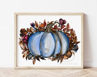 Fall Pumpkin, Flowers, Watercolor Print, Modern Art by HippieHoppy