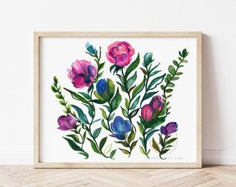 Large Wildflowers Watercolor Art Print by HippieHoppy
