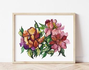Watercolor Flower Print, Wall Art
