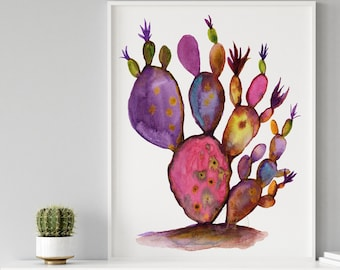 Large Cactus Watercolor Print, Wall Art