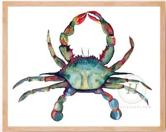 Crab Watercolor Art Print Wall Decor by HippieHoppy